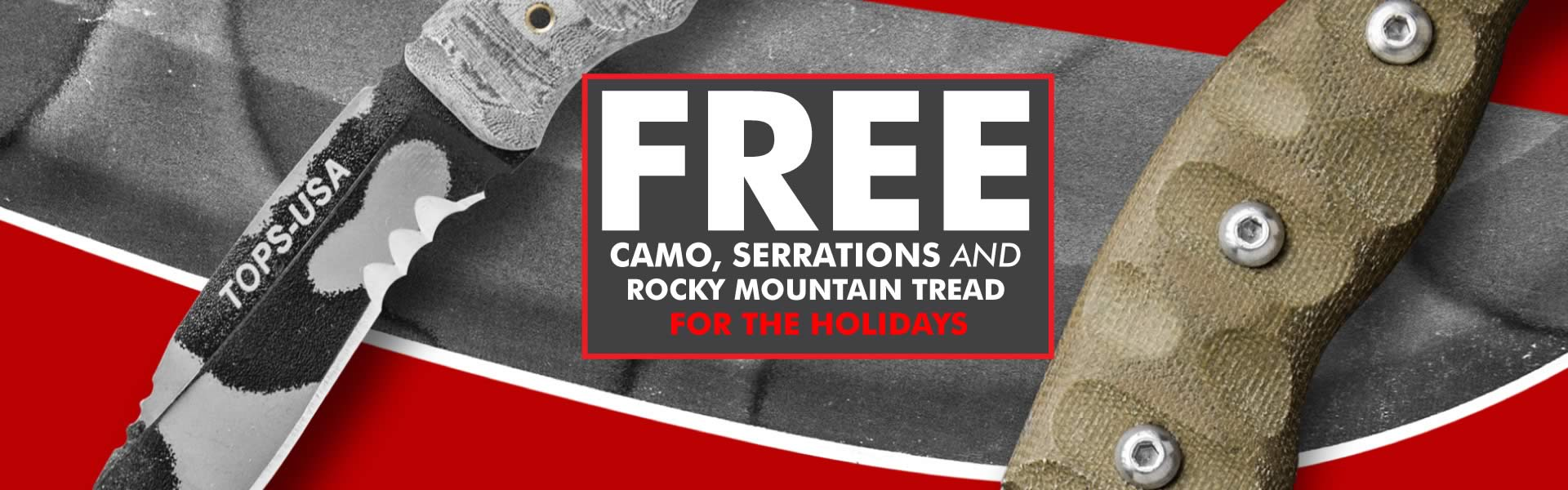 Free camo, serrations and rocky mountain tread